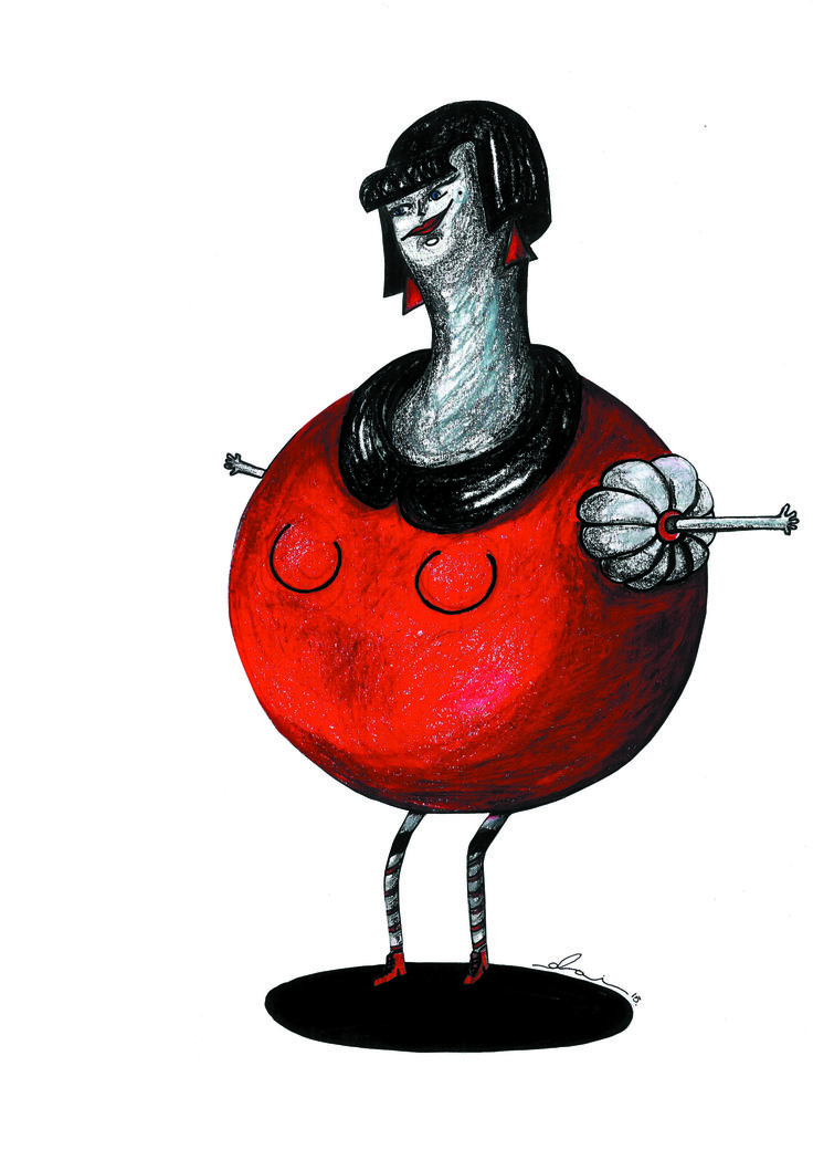 """""""Miss Pomegranate"""" Postcard and A4 prints available"""