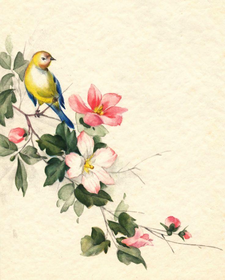Совершеннолетие, картинки с цветами и птицами для декупажа