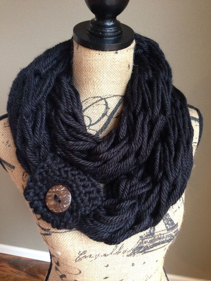 Excited to share the latest addition to my #etsy shop: Gift|for|her Chunky arm knitted scarf, black infinity scarfs, gifts for mom,circular scarf, knitted cowl, women scarves