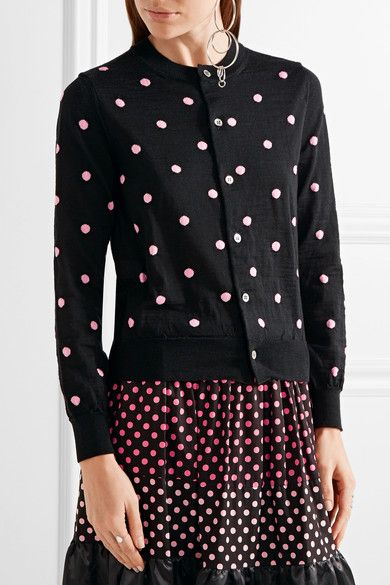Black and pink stretch-wool Button fastenings through front 96% wool, 4% acrylic Dry clean Mother-of-pearl: Japan Made in Japan