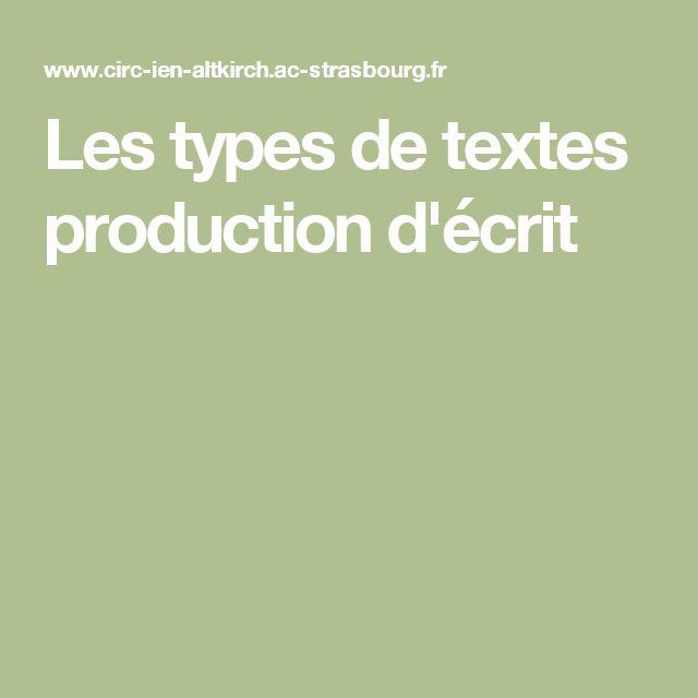Les types de textes production d'écrit