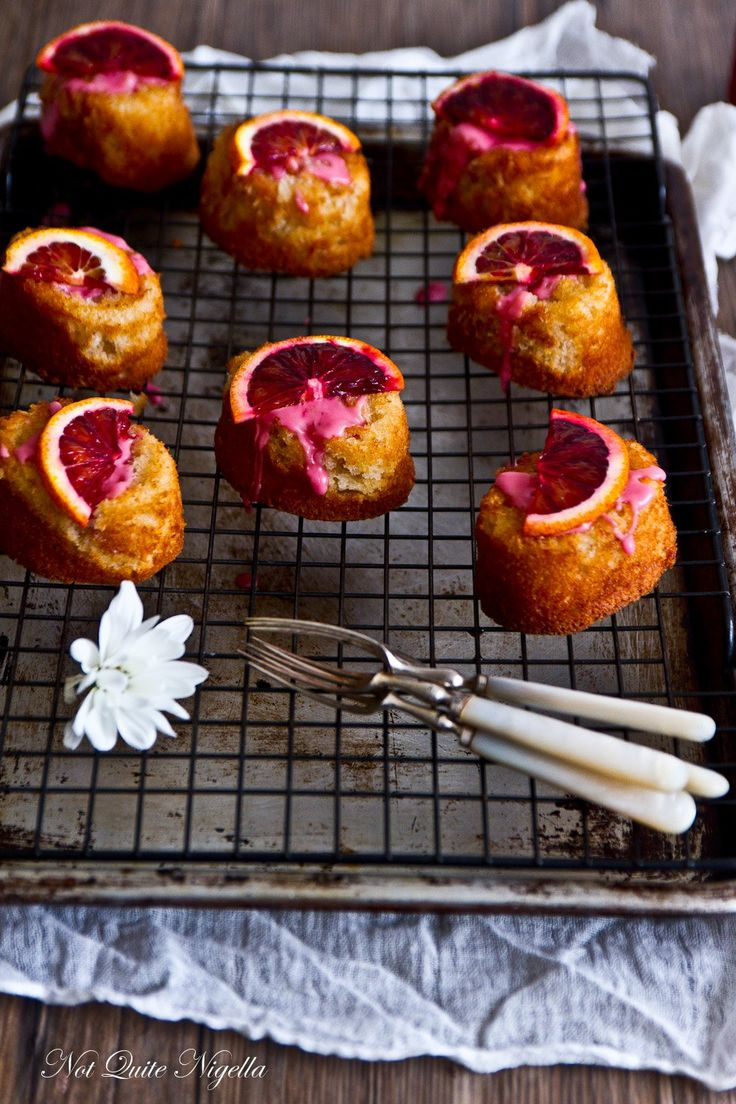 Blood Orange Friand - The friand is a small French cake popular in Australia and New Zealand.  The principal ingredients are almond flour, egg whites, butter, and powdered sugar. It typically has additional flavorings such as coconut, chocolate, fruit, and nuts.  (Wikipedia)