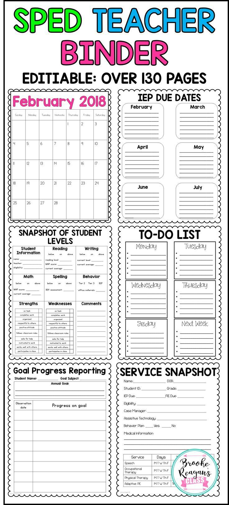 Special Education Teacher Binder. Editable to meet your classroom needs. Over 130 pages combined! A special education teacher MUST HAVE!