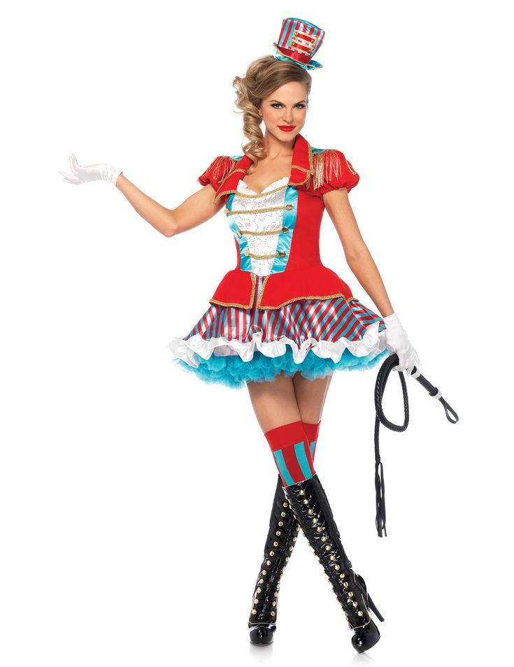 Disfraz domadora de circo-Premium: Este disfraz de domadora de circo es para mujer e incluye un vestido y un sombrero (látigo, botas, enagua, guantes y medias no incluidos).El vestido es corto y tiene dos partes: Una chaqueta...