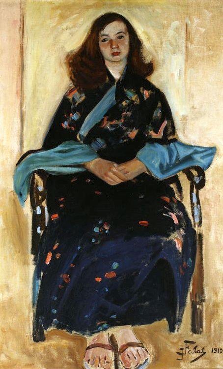 Julian Falat (Polish, 1853-1929) : Femme en Kimono, 1910.: