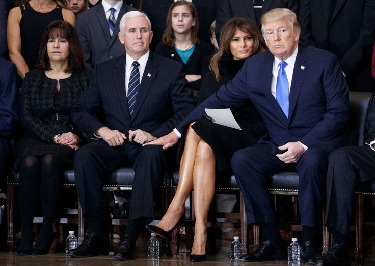This picture of Donald Trump, Melania, Vice President Mike Pence with his wife Karen has left people with one question: What is happening? The image was taken at a memorial service for evangelical preacher Billy Graham, who died in February aged 99. While the gesture of condolence seemed sincere, many pointed Trump's rare public display of affection for Pence seems a little baffling – and mesmerising.