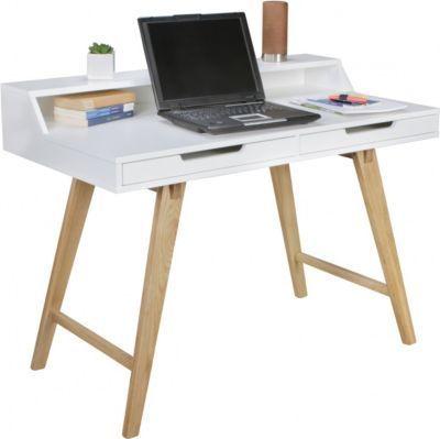 Wohnling WOHNLING Schreibtisch SCANDI 110 X 85 X 60 Cm MDF Holz  Skandinavisch Weiß Matt Arbeitstisch   Design Laptoptisch Mit  Kabeldurchlass   Bürotisch Mit ...