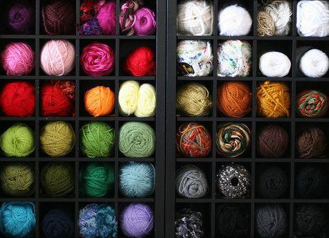 Wine Rack as yarn storageWine Racks, Crafts Spaces, Crafts Room, Yarns Storage, Wine Cabinets, Storage Ideas, Organic Yarns, Yarn Storage, Craft Rooms