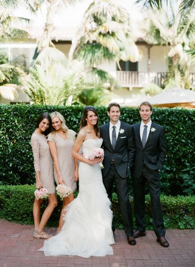 Gorgeous small bridal party (bride in Vera Wang Fawn)