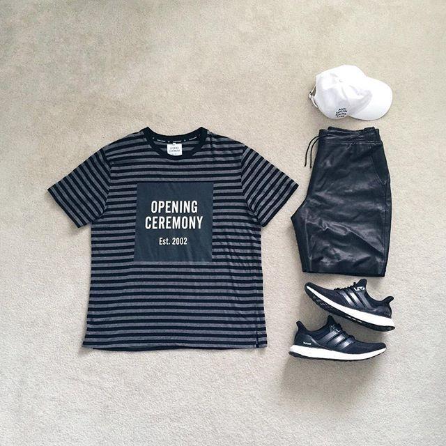 Fav color palette 🎱 | #outfitgrid ▪️#openingceremony tee ▪️#alexanderwang leather shorts ▪️#antisocialsocialclub cap ▪️#adidas #ultraboost #Regram via @?taken-by=johnjunglee #flatlay #flatlays #flatlayapp www.theflatlay.com