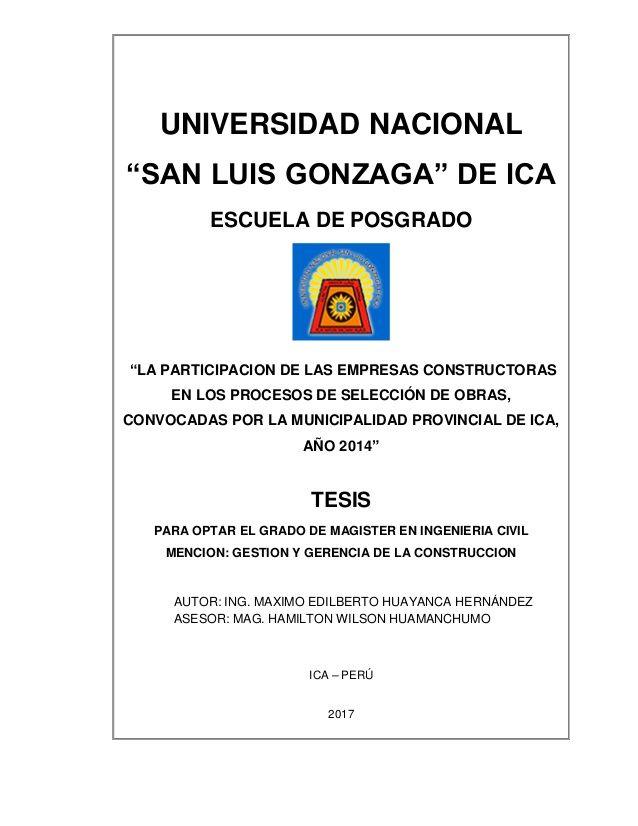 Universidad nacional san luis gonzaga de ica escuela de for Empresas constructoras