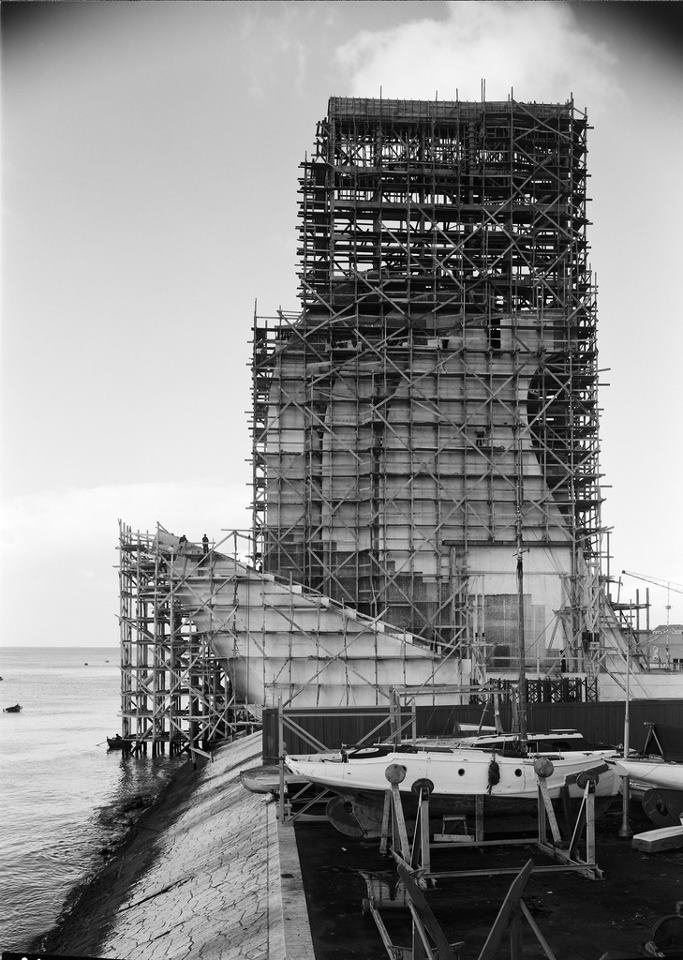 The Monument to the Discoveries (Padrão dos Descobrimentos) under construction.    Portugal, 1940