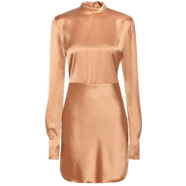 Acne Studios Ellie Satin Dress ($705) ❤ liked on Polyvore featuring dresses, beige, acne studios, red dress, red cocktail dress, beige cocktail dress and beige dress