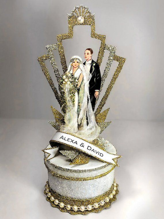10 Wedding Cake Toppers For Every Wedding Style Vintage Wedding Cake Topper Vintage Cake Toppers Art Deco Cake
