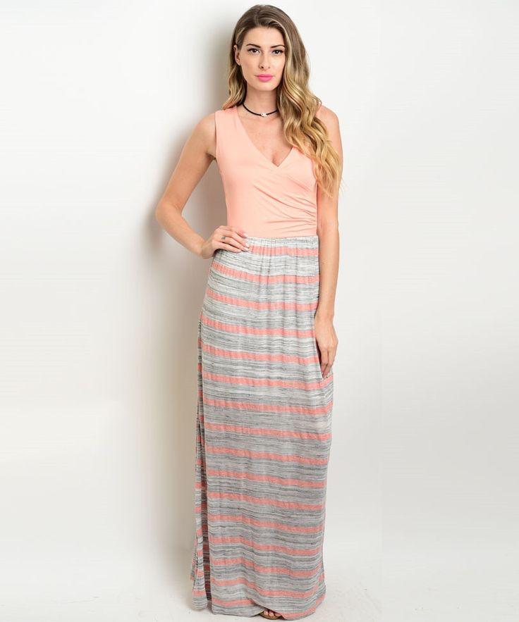 Peach Gray Striped Maxi Dress