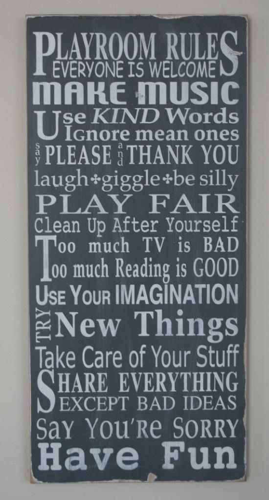 Playroom Rules: Playrooms Ideas, Playrooms Rules, Subway Art, Plays Rooms, Boys Rooms, Playrooms Signs, The Rules, Playrooms Art, Kids Rooms