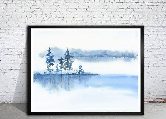 Blue Grey White Wall Art Watercolor Print Spa Decor Misty