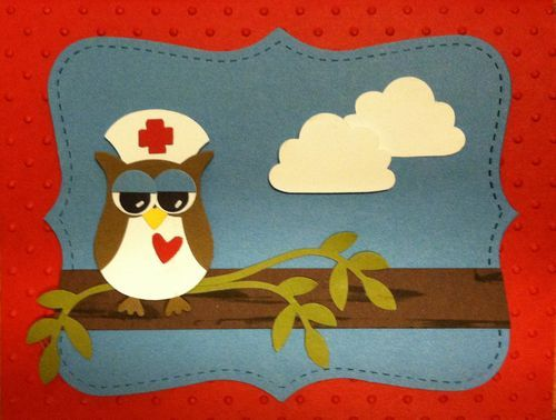 """Stampin' Up! Owl Builder Punch makes an adorable Get Well card or a great card to say, """"Thank you"""", to nurses & doctors for taking great care of you!"""