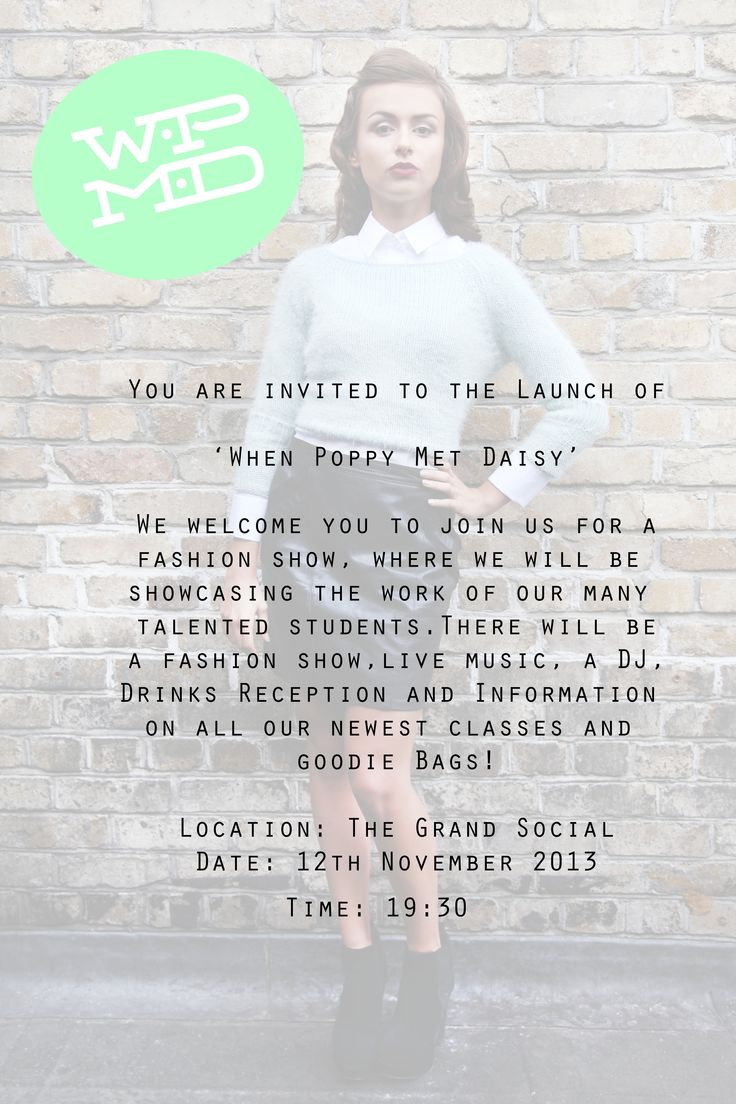 We welcome you to join us for the official launch of When Poppy Met Daisy!  Location: The Grand Social, 35 Lr Liffey Street, Dublin 1 Date: 12th November 2013 Time: 19.30 RSVP: wpmdlaunch@gmail.com