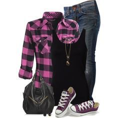 A fashion look from September 2014 featuring Fornarina jeans, Converse sneakers and Forever 21 necklaces. Browse and shop related looks.