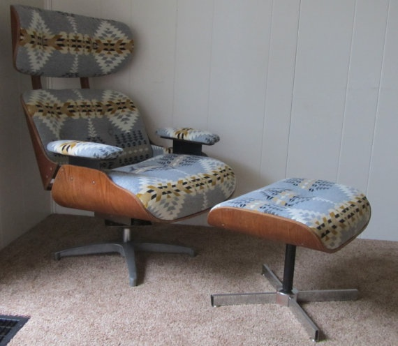 Eames Style Lounge Chair and Ottoman in Pendleton Wool - if only it wasn't $1500 plus $200 for shipping.