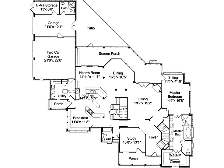 50 best floor plans images on pinterest home plans for Patio home plans with rear garage