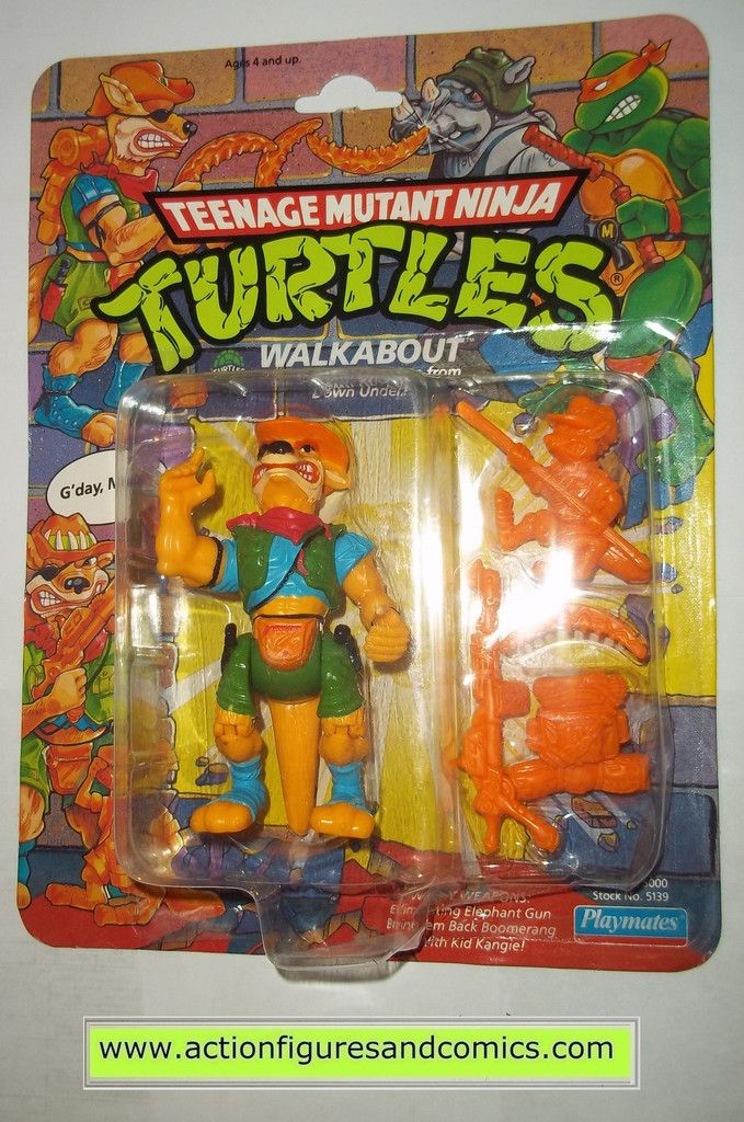 teenage mutant ninja turtles WALKABOUT 1990 kangaroo vintage playmates toys mib moc mip tmnt