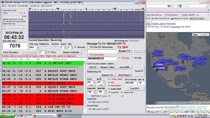 Amateur Radio JT65HF Software Program being used at KI7F