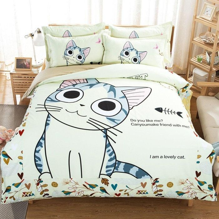 Maxyoyo Home Textiles Cartoon 100 Cotton Lovely Cat Sheet Set With Duvet Cover Cute Kitty Bedding Set Twin Size 4pcs Bedding Sets Twin Bed Sets Duvet Bedding