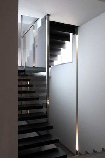 Vertical lighting detail inside a Private House in France _