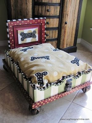 Desire to start looking more youthful? Please click here Now: http://bit.ly/HzgA0E ..custom dog beds from old upside down end tables: Dogs Beds, Blue Velvet Chairs, Pet Beds, Doggies Beds, Lucy Design, End Tables, Green Stripes, Custom Dogs, Dogs Bones