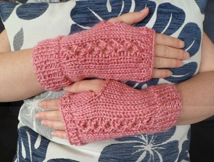 Pink Knitted Hand Warmers - by Amanda @ A Kinder World