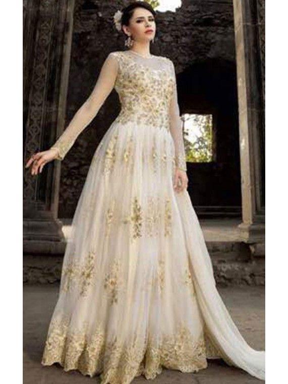 Flairy White and Golden Anarkali salwaar suit