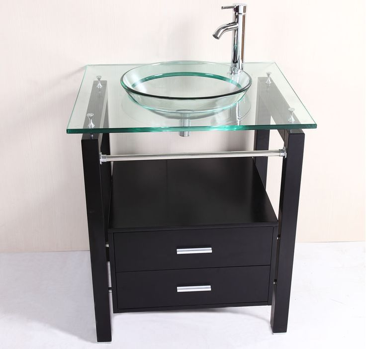 Contemporary Art Sites New Bathroom Tempered Clear Glass Vessel Sink u Vanity Cabinet w Faucet