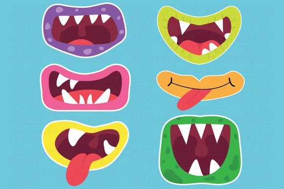Check out Cute Monster Mouths Clipart by SA ClipArt on Creative Market