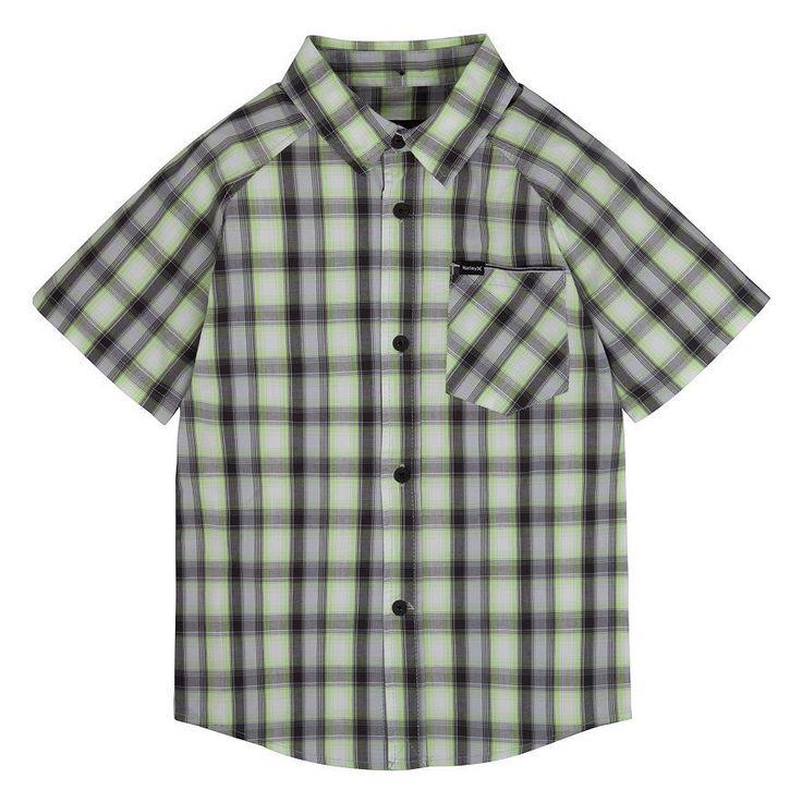 HURLEY Boys Plaid Raglan Woven Button Down Short Sleeve Shirt Size 6 7 Blue Gray #Hurley