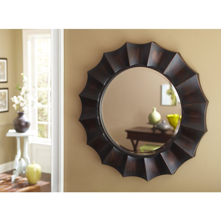Shop allen + roth 29.875-in x 29.875-in Oil Rubbed Bronze Beveled Round Framed French Wall Mirror at Lowes.com