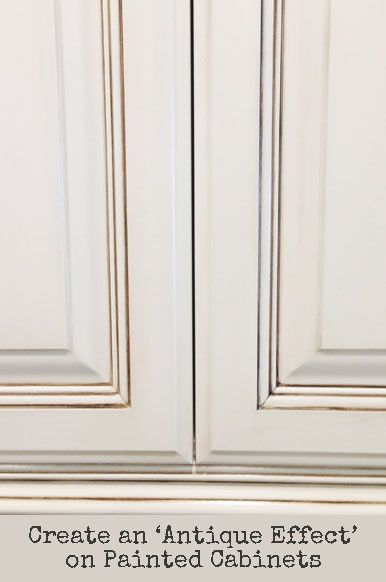 Here are the basic steps to antiquing painted kitchen cabinets. To read the tutorial - view the slideshow below:
