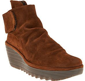 Fly London As Is Suede Ruched Ankle Boots - Yegi