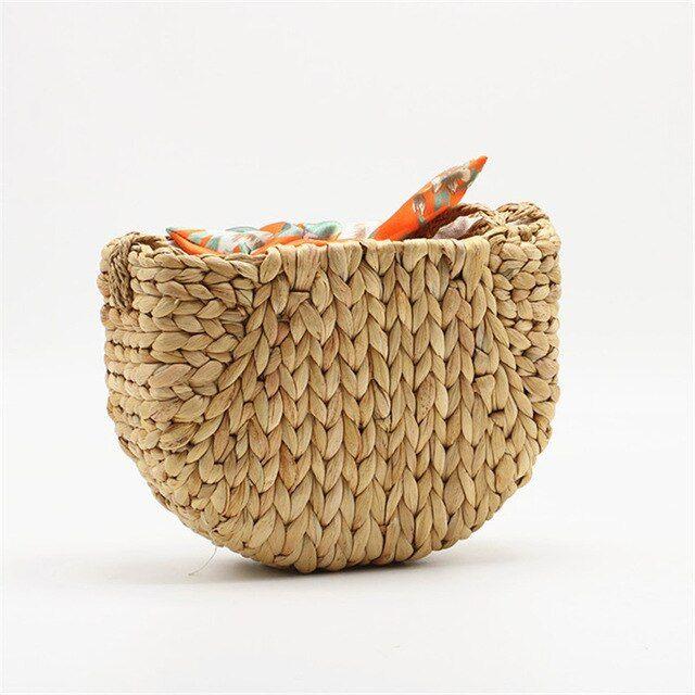 Gourd Grass Straw Bag Shoulder Crossbody Woven Bag Silk Scarf Bow Beach Bag Color Brown