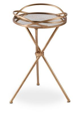 Southern Enterprises Leslie Metal Mirrored Accent Table - Bronze - 26 In.