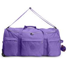 "Get on the go with this duffle bag, featuring a collapsible design and a hidden handle for easy rolling. Inside, a zip pocket, mesh pouches and luggage straps will keep everything in place. 14"" x 30"" x 14"", 6.5 lbs"