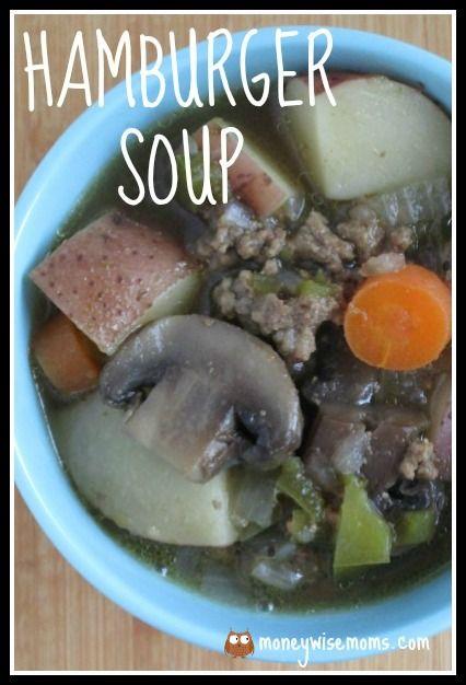 Hamburger Soup   easy frugal crockpot slow cooker meal   MoneywiseMoms