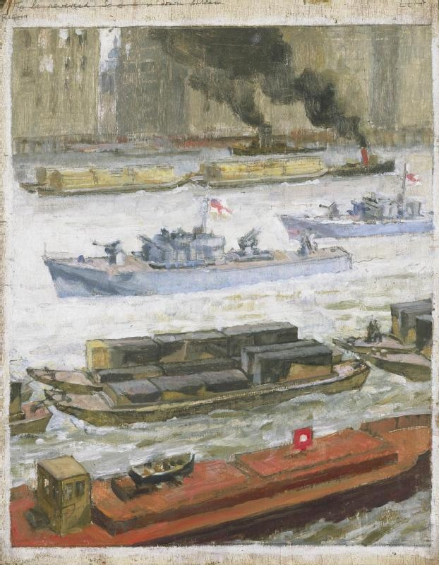 War-time traffic on the river Thames: War-supplies at Paul's Wharf  Oil: Platt, John Edgar 1942  image: a view across the Thames. Several barges, tugs and gunboats sail up and down the river. The dome of St Paul's is visible between the two warehouses on the far bank.