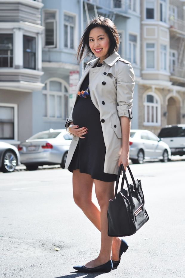 Classic trench, dark coloured shift dress, flats and a classic tote. Easy to do this with existing wardrobe options.