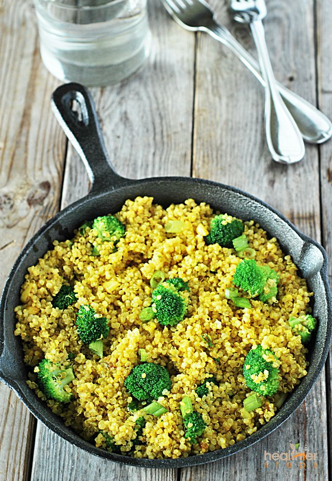Curry Quinoa with Broccoli, is another favorite, which is always a winner recipe for my guests. I have been cooking less brown rice lately and more quinoa in the dishes that I normally use brown rice. Its cooks way faster and its full of nutrients.