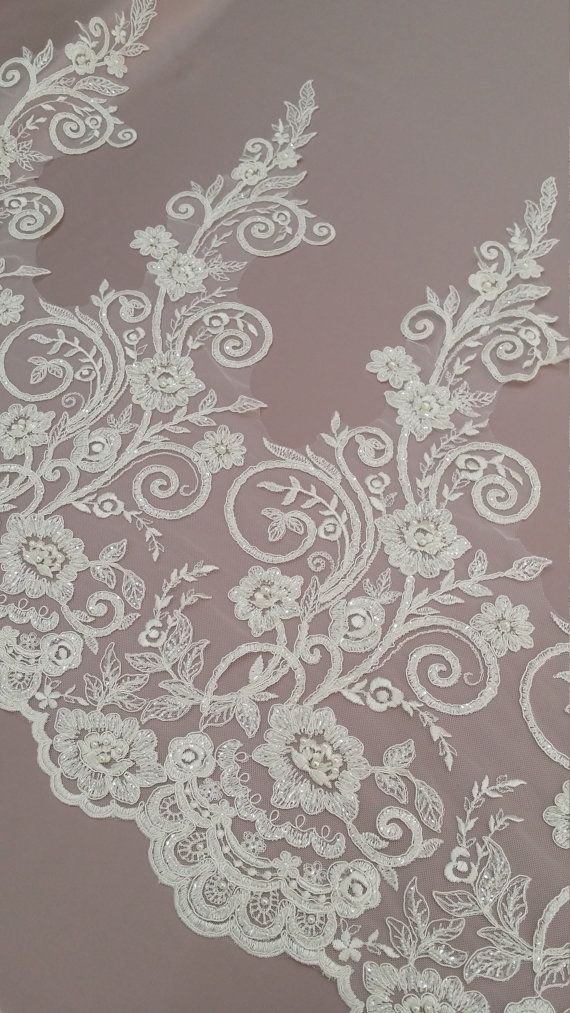 Beaded ivory lace trimming Sequin lace trim Pearl by LaceToLove