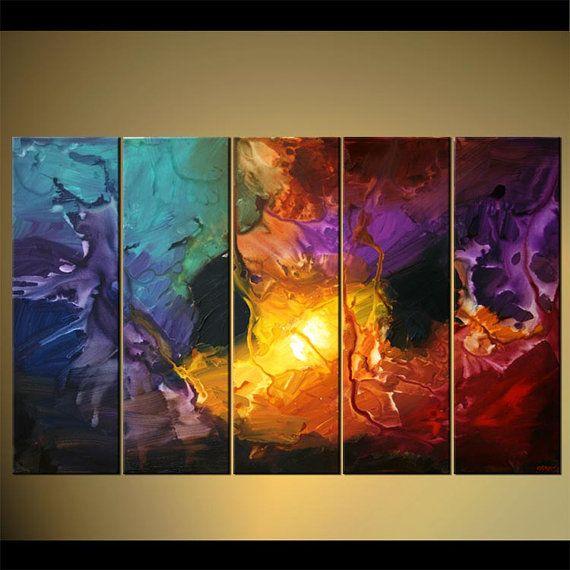 Colorido arte de acrílico moderna pintura por OsnatFineArt en Etsy