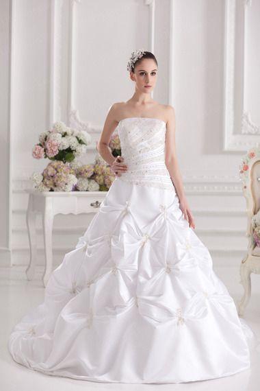Ball Gown Strapless Satin Taffeta Chapel Train Sequins Wedding Dress
