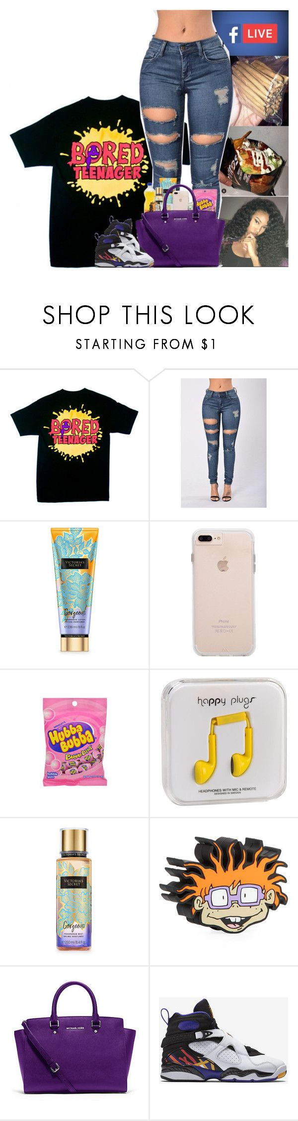 """☢️"" by kennisha84 ❤ liked on Polyvore featuring Happy Plugs, Victoria's Secret, M.A.C, WattUp, Michael Kors and NIKE"